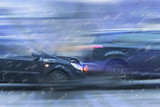 Car accident on the move with a strong blurring