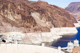The Hoover Dam, the landscape. Boulder Dam is among the hills of black canyon.