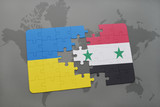 puzzle with the national flag of ukraine and syria on a world map