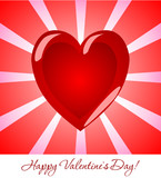Beautiful greeting card for Valentine's Day. Red volumetric hear