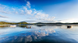 Panorama of a calm summer morning on Merrymeeting Lake, New Hampshire