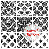 Damask floral ornate seamless patterns set
