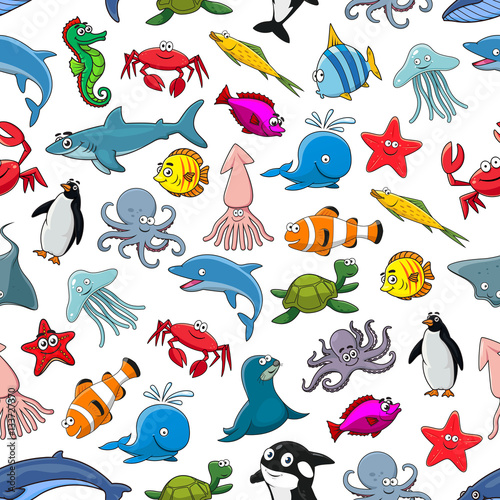 Poster Cartoon pattern of sea fish and ocean animals