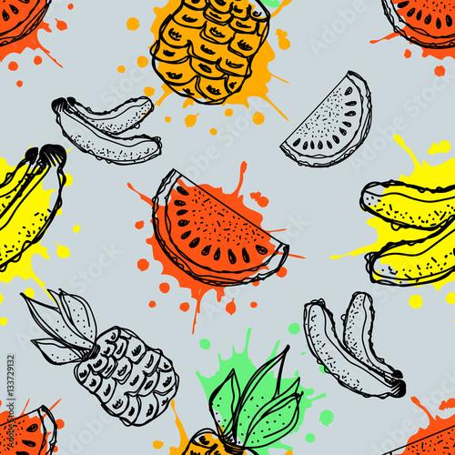bezszwowe-wektor-wzor-reka-rysujaca-owoc-ilustracja-banan-ananas-i-arbuz-z-plusnieciem-i-kropla-na-blekitnym-tle-rysowanie-linii-seria-owocow-wektor-bez-szwu-wzorow