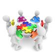People with jigsaw puzzle, teamwork concept.