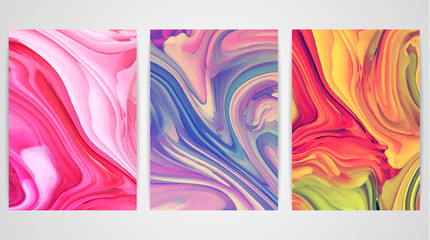 Three paintings with marbling. Marble texture. Paint splash. Colorful fluid. It can be used for poster, brochure, invitation, cover book, catalog. Size A4. Vector illustration eps10
