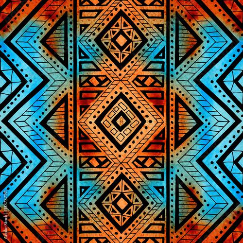 Cotton fabric Seamless geometric background. Grunge watercolor texture. Print