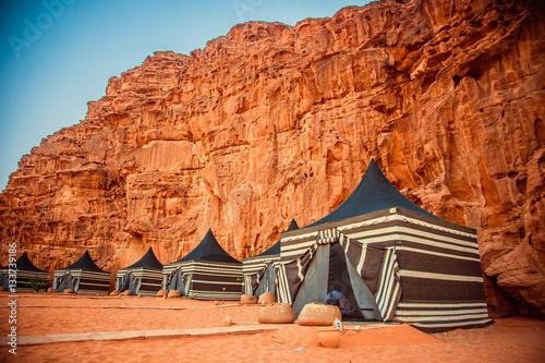 Poster Camping along the rocks in Petra, Wadi Rum. Jordan