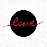 Romantic badge with hand drawn word LOVE. Trendy doodle style calligraphy. Vector illustration