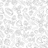 Hand drawn Seamless Pattern with vegetables