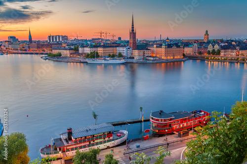 Staande foto Stockholm Stockholm. Cityscape image of Stockholm, Sweden during twilight blue hour.