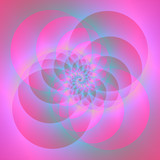 Spiral Circles in Pink and Blue / A digital abstract fractal image with a four circle spiral design in pink and blue. - 133764356