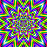 Green and Violet Star / An abstract fractal image with a star in star design in green, yellow, pink, red and violet. - 133764590