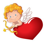 Cute playful cupid with bow and arrow behind the heart. Isolated. Cartoon vector illustration of a Valentines Day