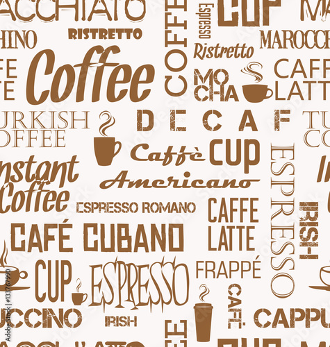 Tapeta ścienna na wymiar Background seamless tile of coffee words and symbols