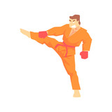 Man In Orange Kimono Taekwondo Martial Arts Fighter, Fighting Sports Professional In Traditional Fighting Sportive Clothing