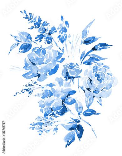 niebieskie-roze-akwarela-kwiaty-galazki-liscie-bu