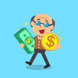 Senior man carrying money stack and coin