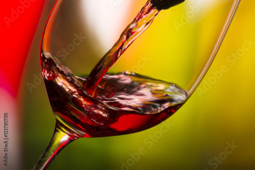 glass with red wine bottle Poster