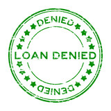 Grunge green loan denied with star icon round rubber stamp