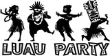 Banner for luau party with people dressed in traditional costumes, EPS 8 vector silhouette, no white objects - 133790767