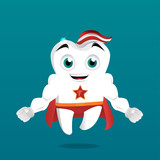 Superhero tooth mascot