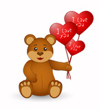 Brown teddy bear with balloons in the shape of a heart. Vector illustration.