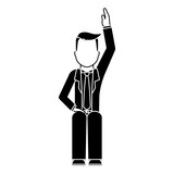 faceless businessman sitting raising hand  icon image vector illustration design