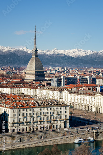 Poster Winter panorama of Turin (Piedmont, Italy), with the Mole Antonelliana, Vittorio