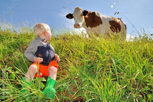 Poster Un petit enfant blond observe une belle vache dans un pré