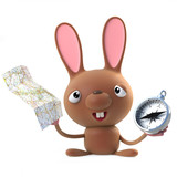 3d Cute cartoon Easter bunny rabbit with compass and map