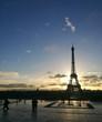 PARIS, FRANCE - JANUARY 13, 2017 : sunrise on Place du Trocadero with Eiffel tower on background