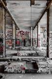 Empty room in abandoned factory ruin