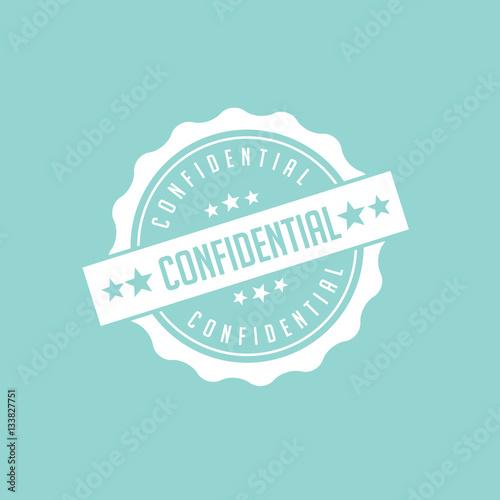 Flat design confidential stamp, symbol, icon.  EPS 10 vector.