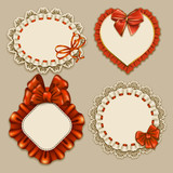 Set of elegant templates ornate frames for design luxury invitation, gift, greeting card, postcard with lace ornament, ruffles, bows, ribbons, place for text. Vector illustration EPS10