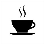 Fototapety Cup of coffee or tea icon. Hot beverage mug on saucer and smoke. Vector Illustration
