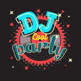 DJ Party Poster Design With Vinyl Record Illustration.  Vector G