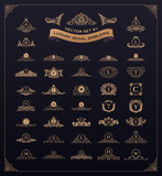 Luxury royal logo set. Crest, emblem, heraldic monogram. Vintage flourishes elements