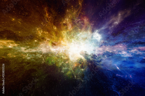 Amazing astronomical scientific background with glowing nebula and stars