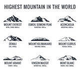 Fototapety Mountain tourist vector logos set. Posters adventures outdoors. Icons of the world highest mountains