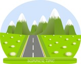 Summer landscape, green mountain with white top, valleys, white daisy, grey road, flat design stock vector illustration