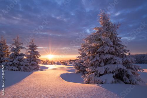 Aluminium Zonsopgang Wunderschöner Sonnenaufgang an einem kalten Wintertag im Erzgebirge mit einer kleinen Holzhütte im Hintergrund
