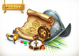 Old treasure map and conquistador helmet. Adventure 3d vector illustration