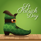 st patrick day boot wooden green background vector illustration eps 10