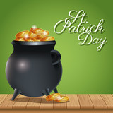 poster st patrick day pot coins gold on wooden green background vector illustration eps 10