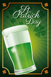 st patrick day glass beer celebration traditional poster clover background vector illustration eps 10