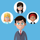 cartoon businessman manager office with women team vector illustration eps 10