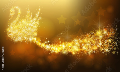 Golden sparkle jewelry swan bird floating with glittering stars pattern in advertisement promotion or seasonal holiday celebration colorful background, create by vector