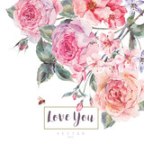 Vector spring vintage floral greeting card with bouquet of roses - 133859906