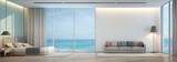 Fototapety Sea view bedroom and living room in luxury beach house - 3D rendering